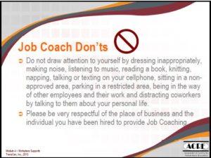 Job Coach Donts