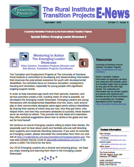 Transition Assessment and Planning Guide: A Tool to Assist