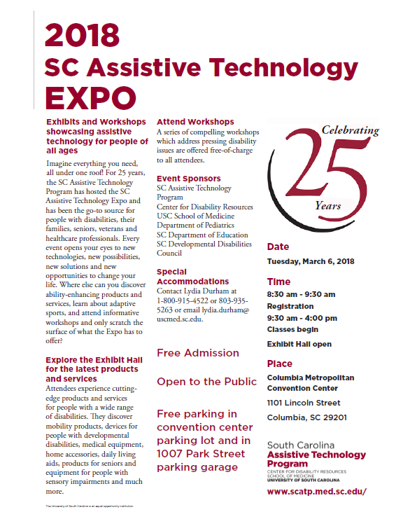 2018 South Carolina Assistive Technology Expo Transition Alliance