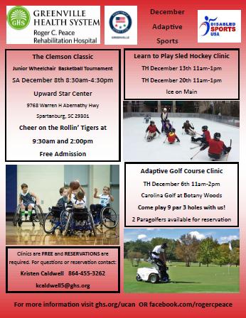 Greenville Sc Calendar Of Events December 2019 Greenville Area Adaptive Sports  December Calendar   Transition